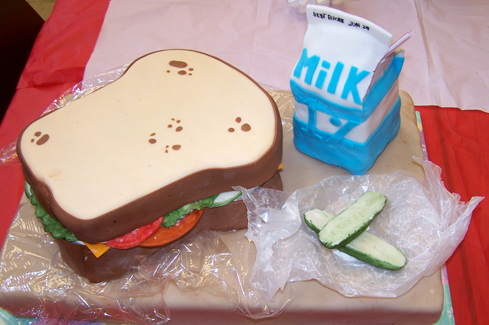 pregnant lady cake. Lunch lady cake