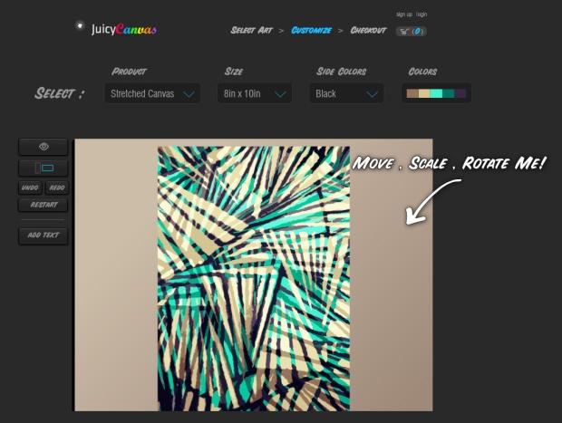 Claudia Owen Juicy Canvas customization page