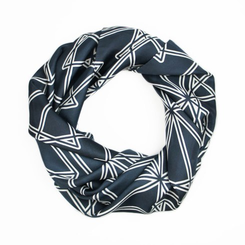 Black Symmetry Silk Scarf By Claudia Owen 3
