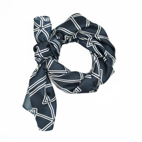 Black Symmetry Silk Scarf By Claudia Owen