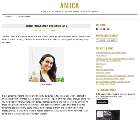 Claudia Owen Canberra Designer featured on Amica Blog