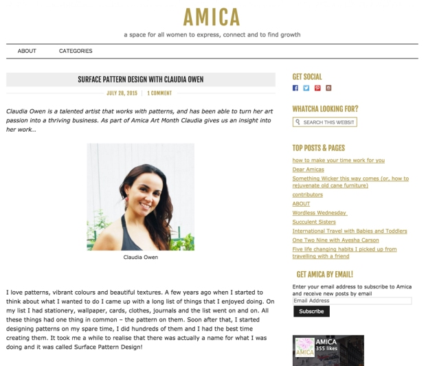 Claudia Owen Canberra Designer featured on Amica Blog