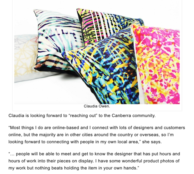 DESIGN Canberra A Unique Shopping Experience Claudia Owen Cushions and quote Feature