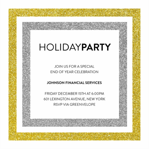 double-the-glitter-invitations-holiday card by Claudia Owen for Greenvelope