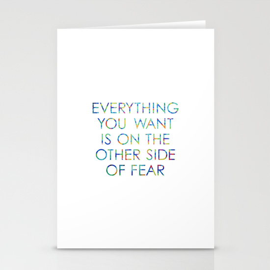 Everything you want is on the other side of fear Artwork by Claudia Owen for Society6 Card
