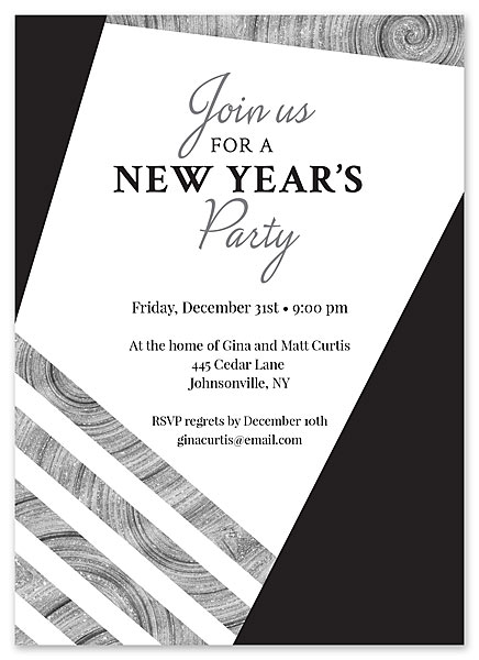New Years Party Invite by Claudia Owen for FineStationery