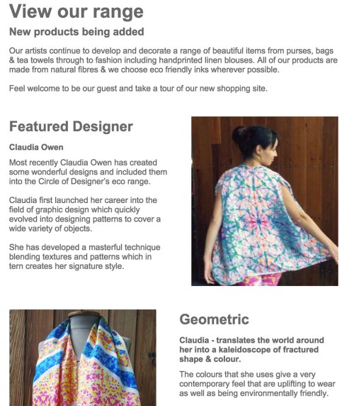 Circle-of-Designers-Newsletter-Claudia-Owen-feature Eco -friendly Silk Scarf-Colorful Pattern Design