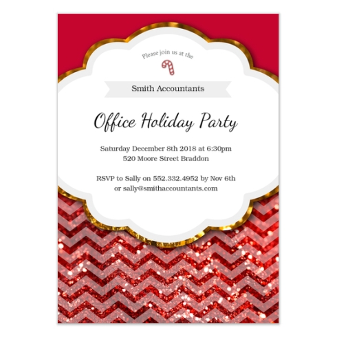 Red Glitter Holiday Party Design by Claudia Owen for Pingg