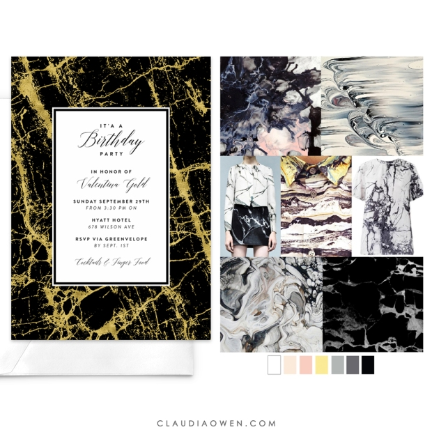 Marble On My Mind - Mood Board by Pattern Curator - Card Design for Greenvelope - Featured in Claudia Owen Blog