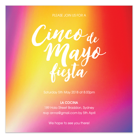Cinco de Mayo Fiesta Party Colorful Invite Design by Claudia Owen for FineStationery and Pingg