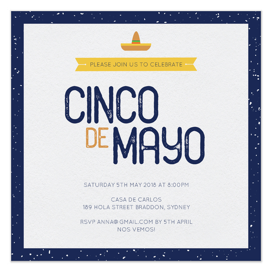 Cinco de Mayo Sombrero Party Invite Design by Claudia Owen for FineStationery and Pingg