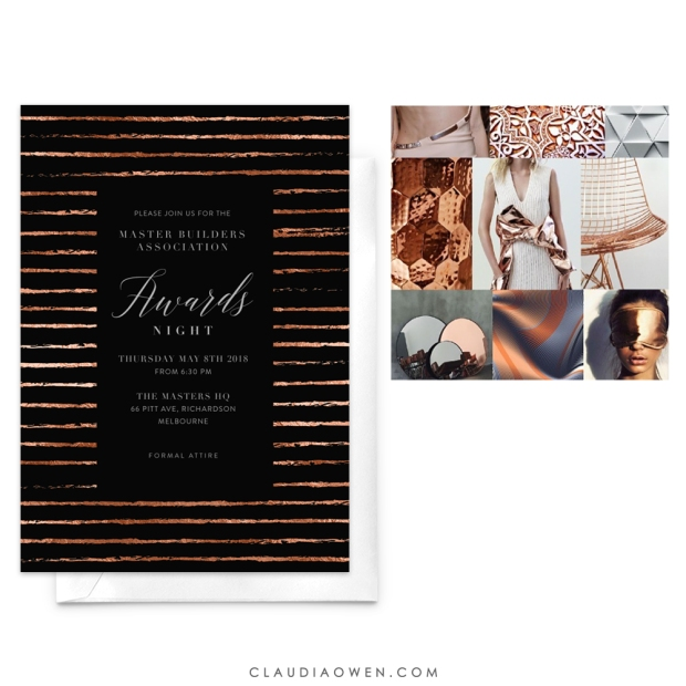Copper Highlights Mood Board by Pattern Curator Card Design for Greenvelope Designed by Claudia Owen
