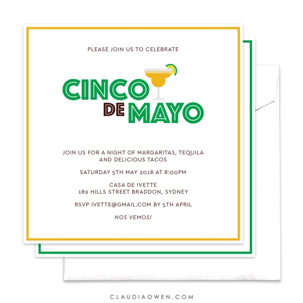 Margaritas For Cinco de Mayo Party Design by Claudia Owen for Pingg