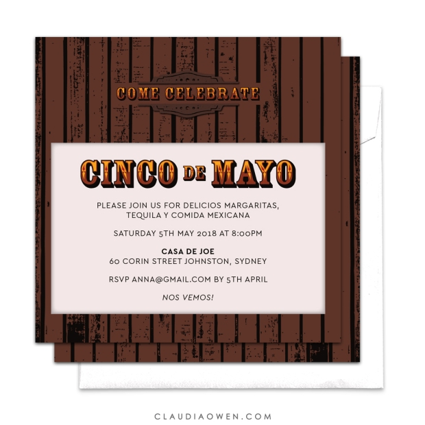 Wooden Cinco de Mayo Party Invite Design by Claudia Owen for Pingg