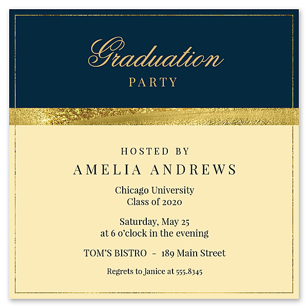 Blue and Gold Invitation for FineStationery Designed by Claudia Owen