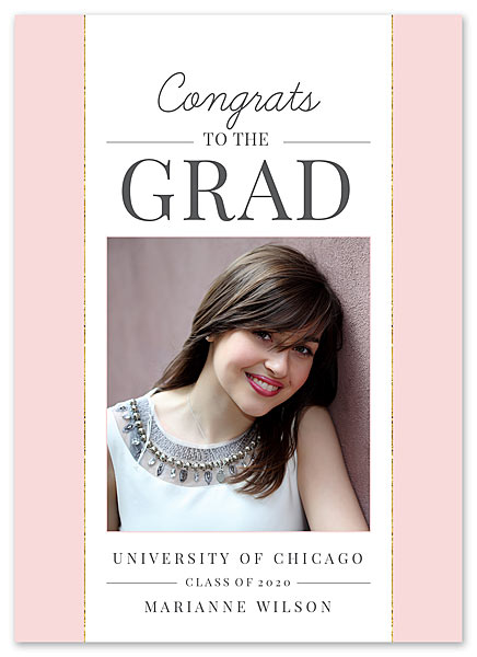 Pink Graduation Announcement for FineStationery Designed by Claudia Owen