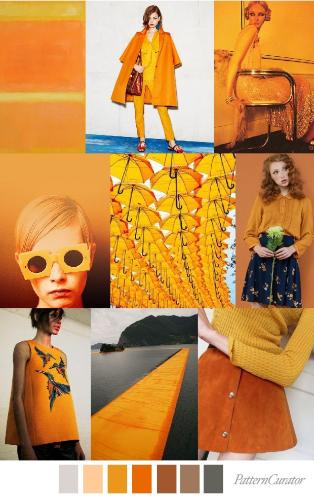 Tangerine Dream Moodboard Trends by Pattern Curator Featured on Claudia Owen Blog